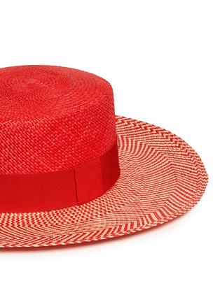 Detail View - Click To Enlarge - Sensi Studio - Chevron stripe toquilla straw boater hat