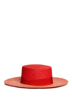 Sensi Studio Chevron stripe toquilla straw boater hat