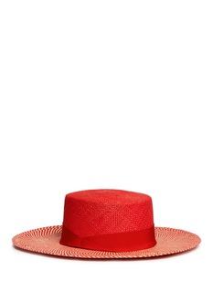 Sensi StudioChevron stripe toquilla straw boater hat
