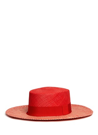 Figure View - Click To Enlarge - Sensi Studio - Chevron stripe toquilla straw boater hat