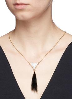 Anton HeunisRabbit fur vintage stone drop necklace