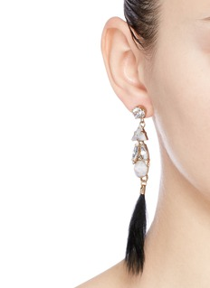 Anton HeunisSwarovski crystal vintage stone fur drop earrings