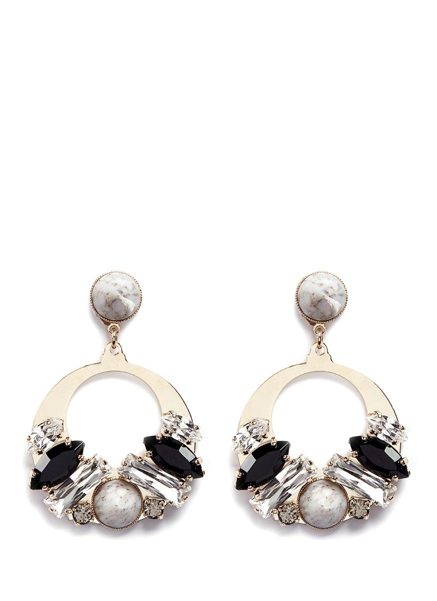 Vintage stone stud Swarovski crystal hoop earrings by Anton Heunis