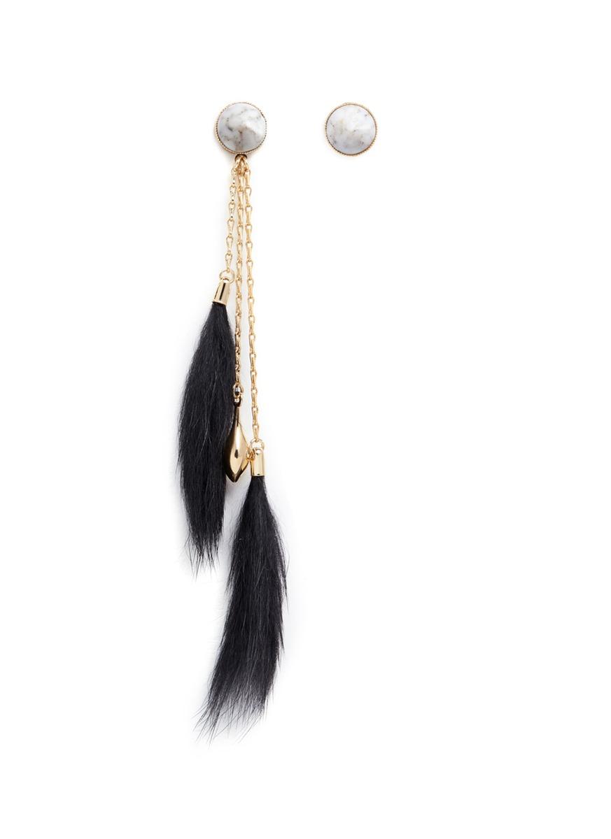 Vintage stone rabbit fur asymmetric drop earrings by Anton Heunis