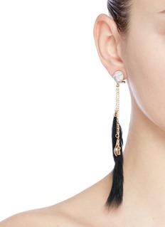 Anton HeunisVintage stone rabbit fur asymmetric drop earrings