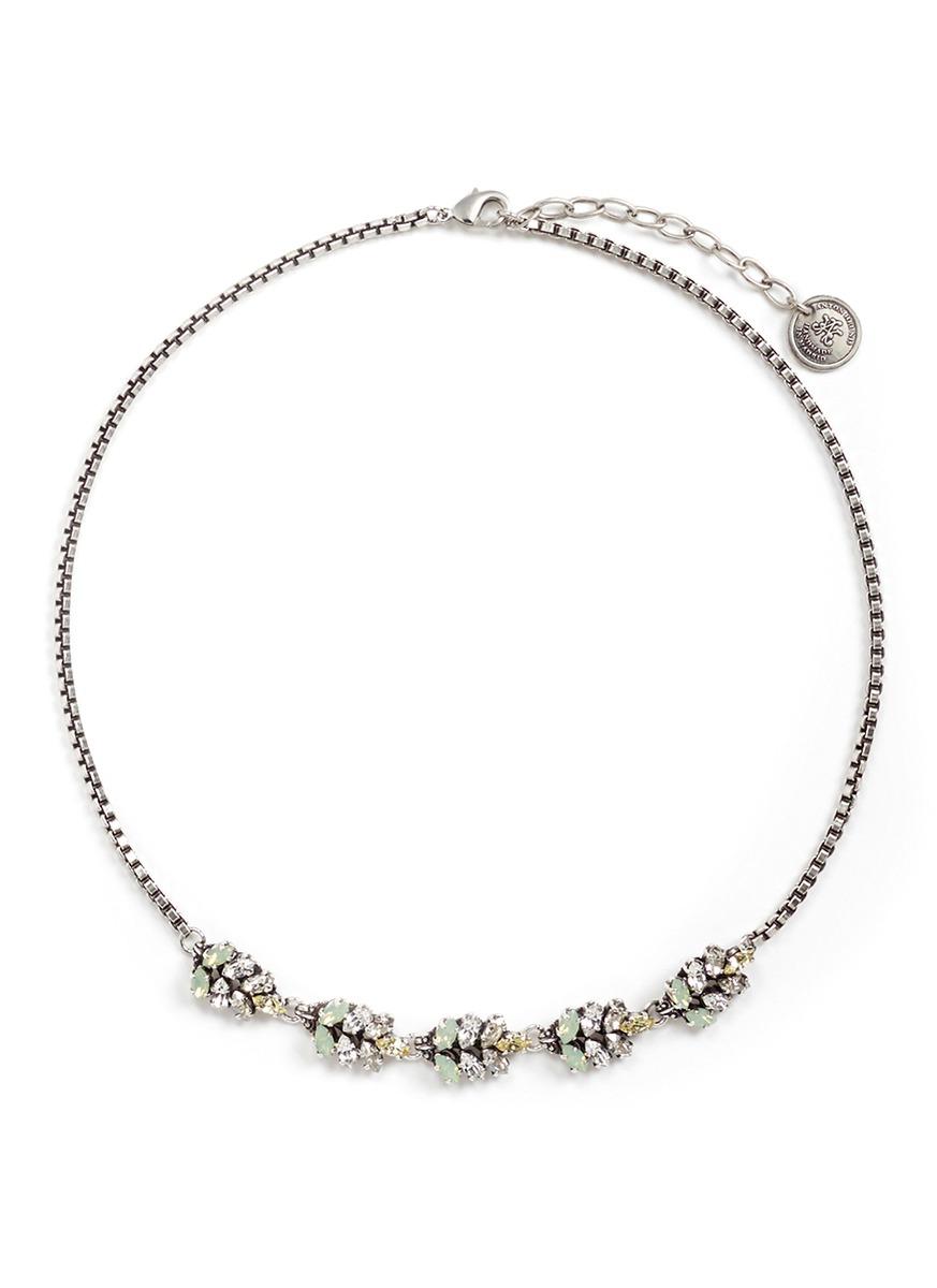 Swarovski crystal leather charm necklace by Anton Heunis