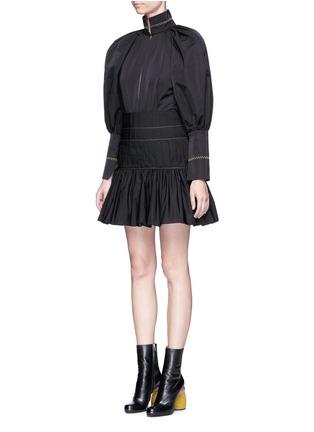Front View - Click To Enlarge - Ellery - 'Skyward' pleated taffeta peplum dress