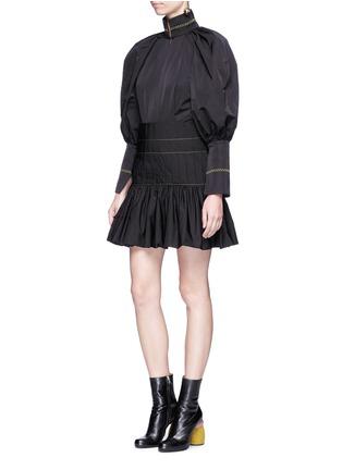 Figure View - Click To Enlarge - Ellery - 'Skyward' pleated taffeta peplum dress