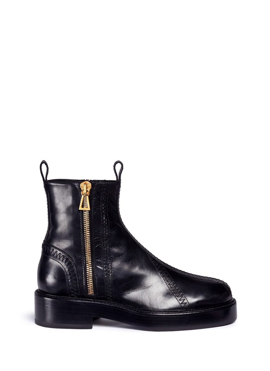 Venus zigzag stitch zip leather boots by Ellery
