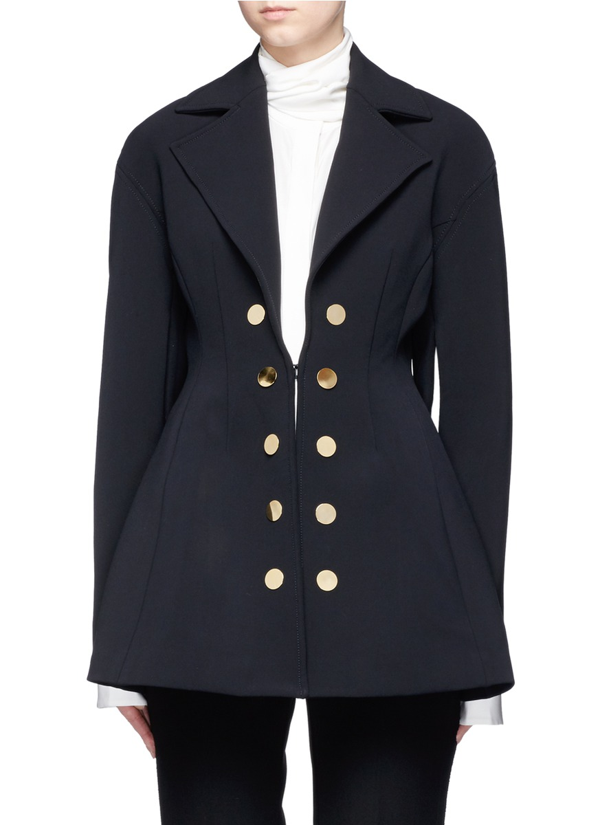Marilyn double-breasted flared twill coat by Ellery