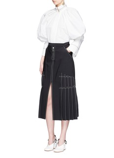 Ellery 'Besson' stud pleated midi skirt