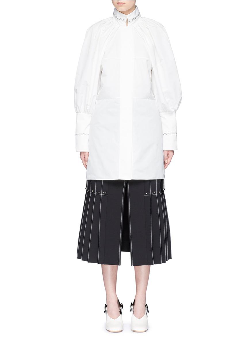 Witch Doctor bishop sleeve satin poplin mini dress by Ellery