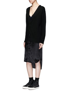 T By Alexander Wang Satin hem Merino wool cardigan dress