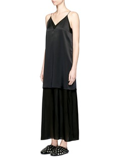 T By Alexander Wang Silk charmeuse top georgette slip dress
