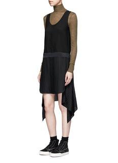 T By Alexander WangSilk stripe asymmetric drape chiffon dress
