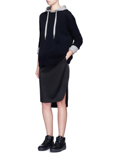T By Alexander WangStretch satin drawstring track skirt