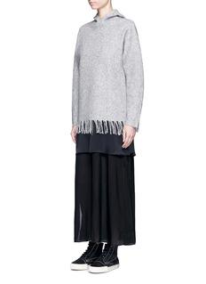 T By Alexander WangFringed boiled Merino wool blend hoodie