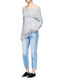 T By Alexander Wang Off-shoulder wool-cashmere sweater