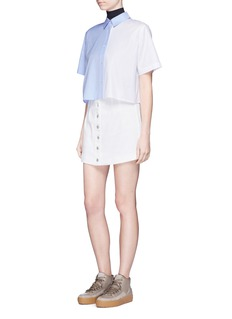 T By Alexander Wang Colourblock cropped cotton shirt