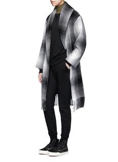 T By Alexander WangFringed hem plaid wool blend coat