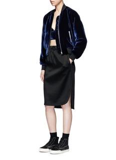 T By Alexander WangPadded silk blend velvet bomber jacket