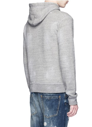 Back View - Click To Enlarge - Dsquared2 - 'Ride' velvet flock marl cotton hoodie