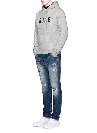 Figure View - Click To Enlarge - Dsquared2 - 'Ride' velvet flock marl cotton hoodie