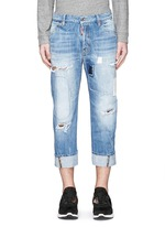 'Workwear' patchwork distressed jeans