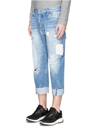 Front View - Click To Enlarge - Dsquared2 - 'Workwear' patchwork distressed jeans