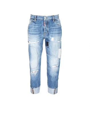 Main View - Click To Enlarge - Dsquared2 - 'Workwear' patchwork distressed jeans