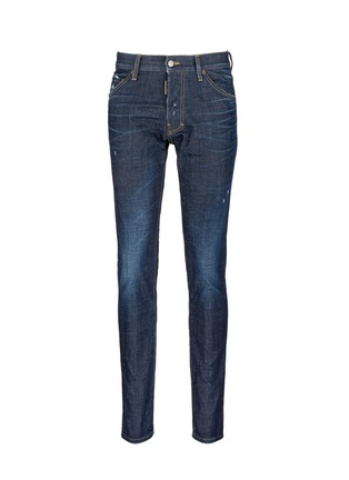 Main View - Click To Enlarge - Dsquared2 - 'Cool Guy' leopard print calf hair patch jeans