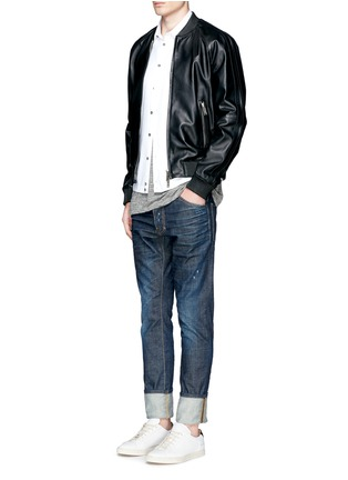 Figure View - Click To Enlarge - Dsquared2 - 'Cool Guy' leopard print calf hair patch jeans
