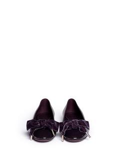 ALEXANDER MCQUEENVelvet bow leather ballerina flats
