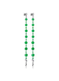 Samuel Kung Diamond jade 18k gold link drop earrings