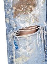 One of a kind hand-painted splatter distressed vintage boyfriend jeans