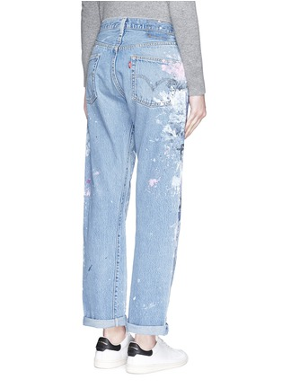 Back View - Click To Enlarge - RIALTO JEAN PROJECT - One of a kind hand-painted splatter distressed vintage boyfriend jeans