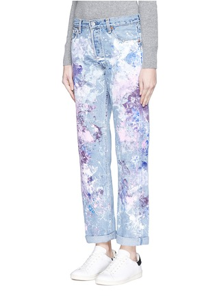 Front View - Click To Enlarge - RIALTO JEAN PROJECT - One of a kind hand-painted splatter distressed vintage boyfriend jeans