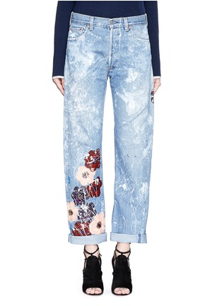 Detail View - Click To Enlarge - RIALTO JEAN PROJECT - One of a kind hand-painted cherry blossom vintage boyfriend jeans