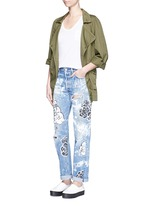 One of a kind hand-painted rose vintage boyfriend jeans