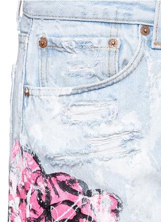 细节 - 点击放大 - RIALTO JEAN PROJECT - 手绘玫瑰花泼墨图案Boyfriend款牛仔裤
