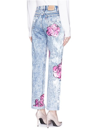 Back View - Click To Enlarge - RIALTO JEAN PROJECT - One of a kind hand-painted rose vintage boyfriend jeans