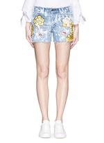 One of a kind hand-painted rose vintage denim shorts