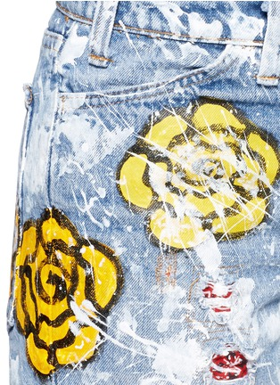 RIALTO JEAN PROJECT-One of a kind hand-painted rose vintage denim shorts
