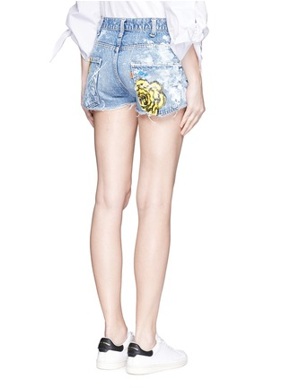 Back View - Click To Enlarge - RIALTO JEAN PROJECT - One of a kind hand-painted rose vintage denim shorts