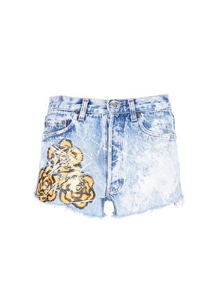 Main View - Click To Enlarge - RIALTO JEAN PROJECT - One of a kind hand-painted rose vintage denim shorts