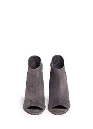模特儿示范图 - 点击放大 - Vince - 'Sierra' snakeskin suede combo peep toe ankle boots