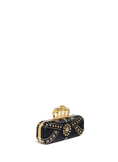 Alexander McQueen Stud skull leather knuckle clutch
