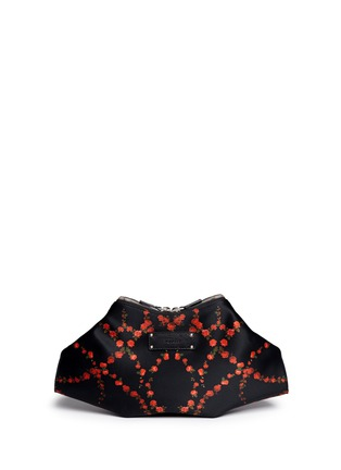 Back View - Click To Enlarge - Alexander McQueen - 'De Manta' rose print satin clutch