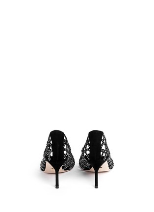 Back View - Click To Enlarge - SERGIO ROSSI - Strass suede open toe pumps