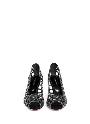 Figure View - Click To Enlarge - SERGIO ROSSI - Strass suede open toe pumps